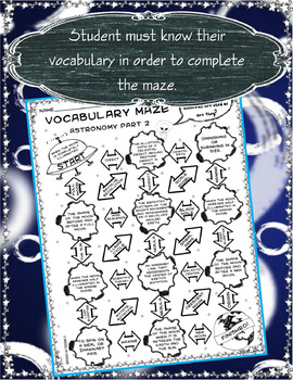 Vocabulary Maze Space (Astronomy) Part 2 - 8th Grade Science