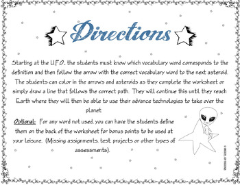 Vocabulary Maze Space (Astronomy) Part 3 - 8th Grade Science