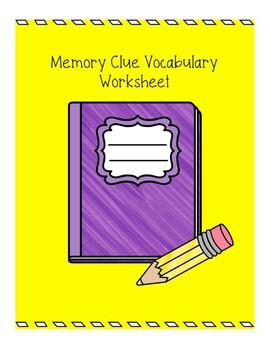 Vocabulary Memory Clue Worksheet
