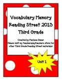 Vocabulary Memory - Reading Street 2013 - 3rd Grade - Unit 1