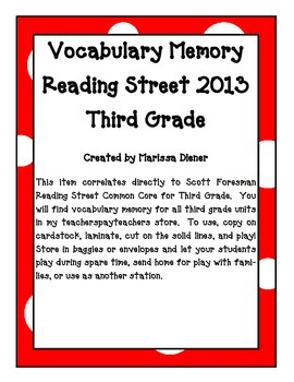 Vocabulary Memory - Reading Street 2013 - 3rd Grade - Unit 3