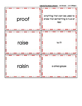 Vocabulary Memory - Reading Street 2013 - 3rd Grade - Unit 3