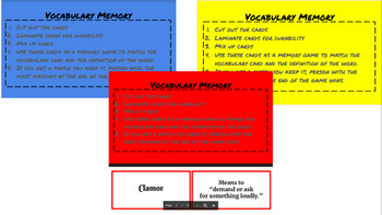 Making Meaning Vocabulary Memory weeks 1-20 Bundle