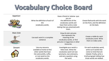Vocabulary Activity Menu