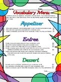 Vocabulary Menu
