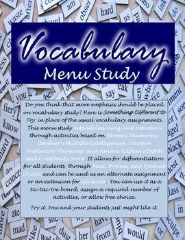 Vocabulary Menu Study