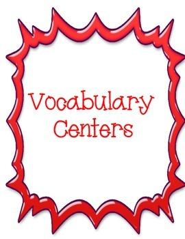 Vocabulary Menu and Centers