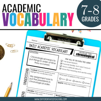Academic Vocabulary for Middle School Warm-ups and Practice