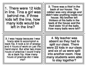 Vocabulary Mixed Addition and Subtraction Word Problem Task Cards (20 Cards)
