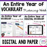 Vocabulary Morning Work for the WHOLE YEAR, Digital and Pa