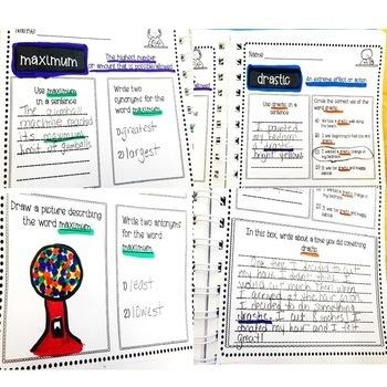 Vocabulary Morning Work or Vocabulary Activities-Grades 4-6