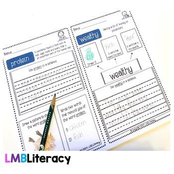 Vocabulary Morning Work or Vocabulary Activities-Grades 1-3
