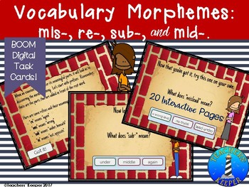 Vocabulary Morpheme Study of Prefixes Mis-, Re-, Sub-, Mid-: Digital Task Cards