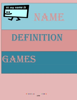 """Vocabulary """"Name-Definitions"""""""
