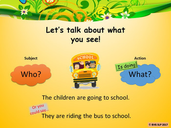 Vocabulary Naming and Simple Sentences Animated Images Teletherapy Digital