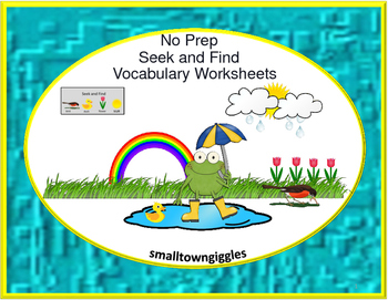 Autism Seek and Find Vocabulary NO PREP Printables Literac