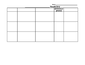 Vocabulary Note Catcher 1