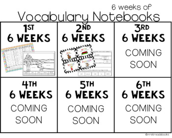 Vocabulary Notebook Bundle {includes all 6 weeks}
