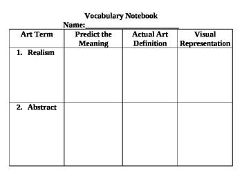 Vocabulary Notebook Graphic Organizer