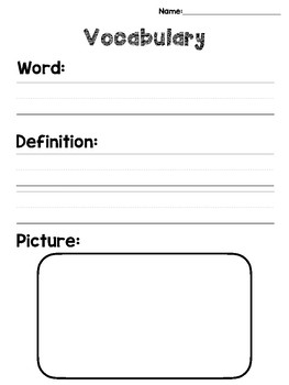 Vocabulary Notebook: Graphic Organizers