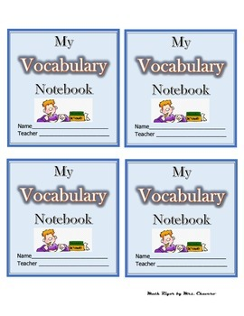 Vocabulary Notebook Labels