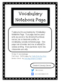 Vocabulary Notebook Page