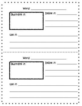 Vocabulary Notebook Page Insert