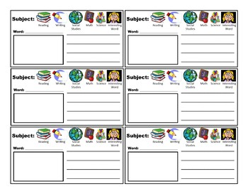 Vocabulary Notebook Pages-Cut and Paste