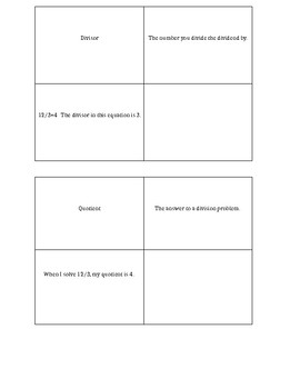 Vocabulary Notebook Template-Division
