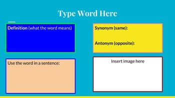 Digital or Paper Vocabulary Organizers
