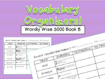 Vocabulary Organizers - Wordly Wise 3000 Book 8