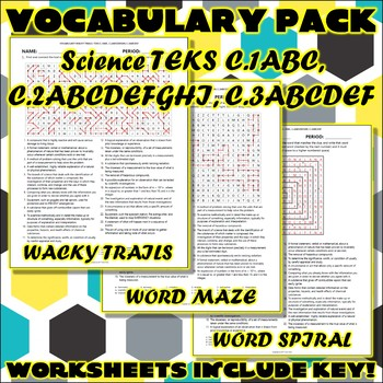 Vocabulary Pack for Chemistry Science TEKS Safety, Process, and Measurement