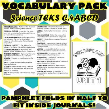 Vocabulary Pack for Chemistry Science TEKS Unit 1