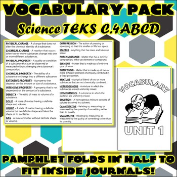 Vocabulary Pack for Chemistry Science TEKS Unit 1