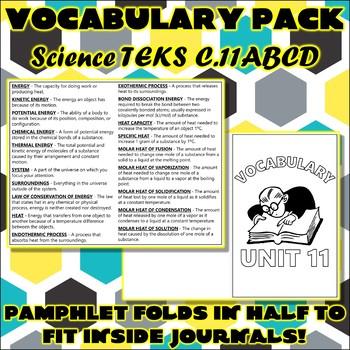 Vocabulary Pack for Chemistry Science TEKS Unit 11