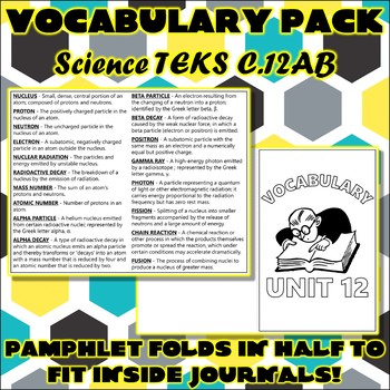 Vocabulary Pack for Chemistry Science TEKS Unit 12
