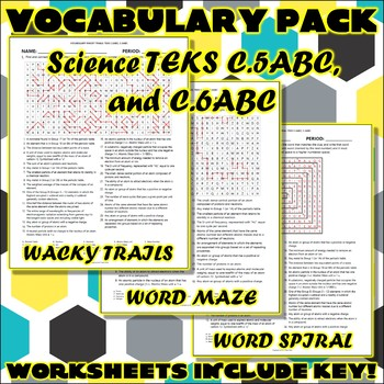 Vocabulary Pack for Chemistry Science TEKS Unit 2