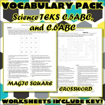 Vocabulary Pack for Chemistry Science TEKS Unit 2