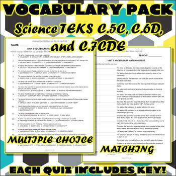 Vocabulary Pack for Chemistry Science TEKS Unit 3