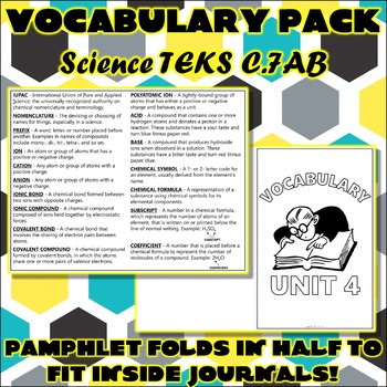 Vocabulary Pack for Chemistry Science TEKS Unit 4