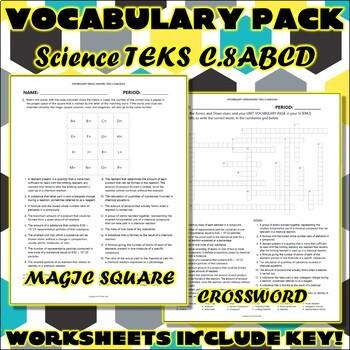 Vocabulary Pack for Chemistry Science TEKS Unit 6 & 7