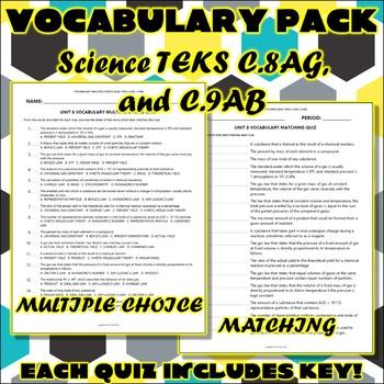 Vocabulary Pack for Chemistry Science TEKS Unit 8