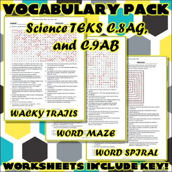Vocabulary Pack for Chemistry Science TEKS Unit 8