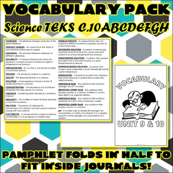 Vocabulary Pack for Chemistry Science TEKS Unit 9 & 10