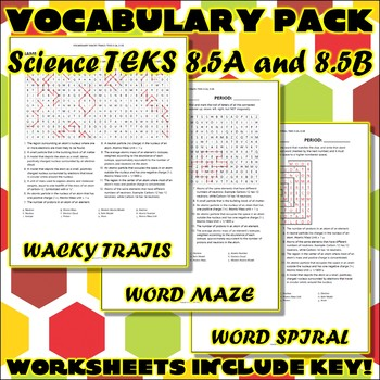 Vocabulary Pack for Eighth Grade Science TEKS Unit 1 Part 1