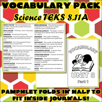 Vocabulary Pack for Eighth Grade Science TEKS Unit 11 Part 1