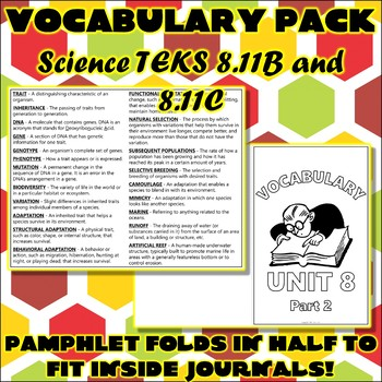 Vocabulary Pack for Eighth Grade Science TEKS Unit 8 Part 2