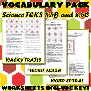 Vocabulary Pack for Eighth Grade Science TEKS Unit 2