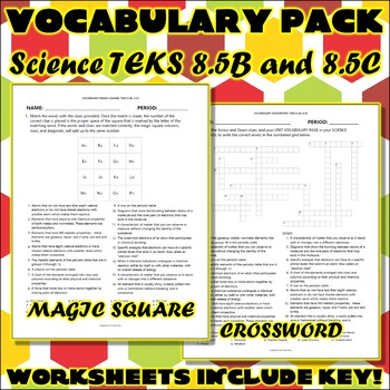 Vocabulary Pack for Eighth Grade Science TEKS Unit 1 Part 2