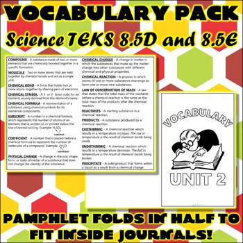 Vocabulary Pack for Eighth Grade Science TEKS Unit 3
